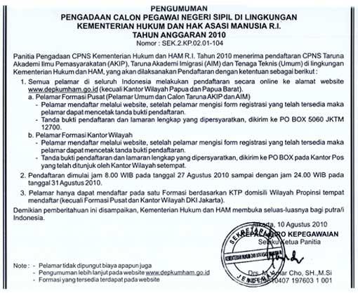 cpns untuk periode 2010 berikut kutipan resmi pengumuman cpns